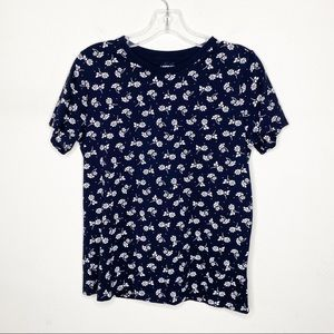 Lands' End Supima Black Floral Short Sleeve Top